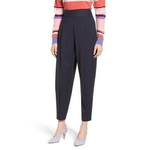 Lewit Carrot Trousers Pants 14 Pleated Wool Blend